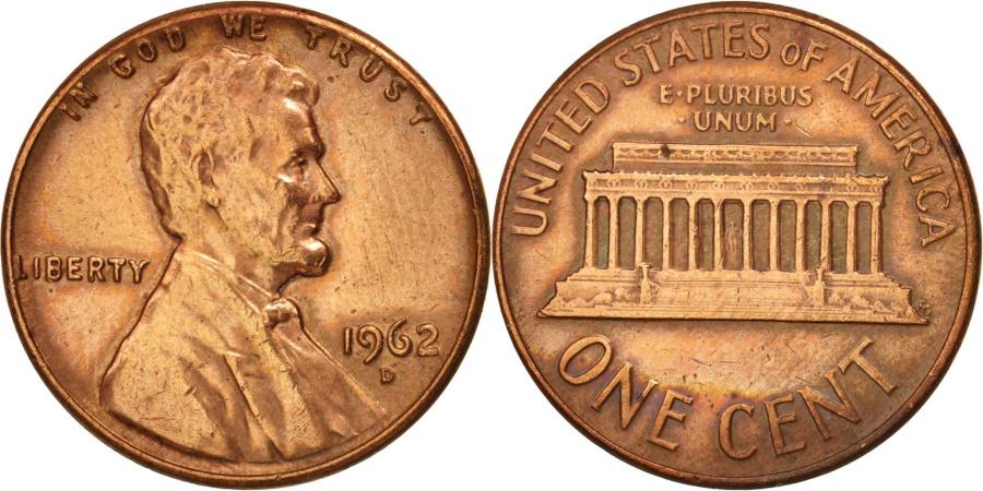 US Coins - United States, Lincoln Cent, 1962, Denver, , KM:201
