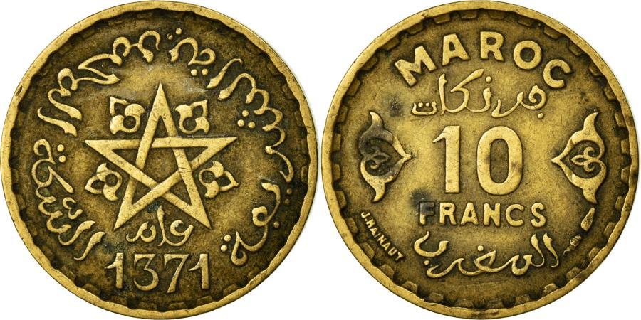 World Coins - Coin, Morocco, Mohammed V, 10 Francs, Paris, EF(40-45), Aluminum-Bronze, KM:49