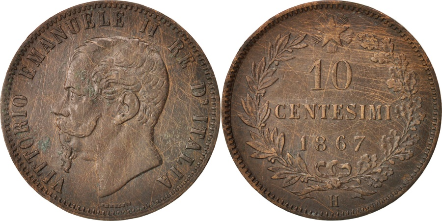World Coins - Italy, Vittorio Emanuele II, 10 Centesimi, 1867, Birmingham,