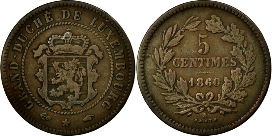 World Coins - Coin, Luxembourg, William III, 5 Centimes, 1860, Paris, VF(30-35), Bronze