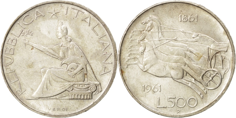 World Coins - ITALY, 500 Lire, 1961, Rome, KM #99, , Silver, 29.3, 11.02