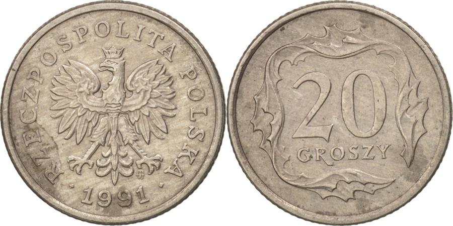 World Coins - Poland, 20 Groszy, 1991, Warsaw, , Copper-nickel, KM:280