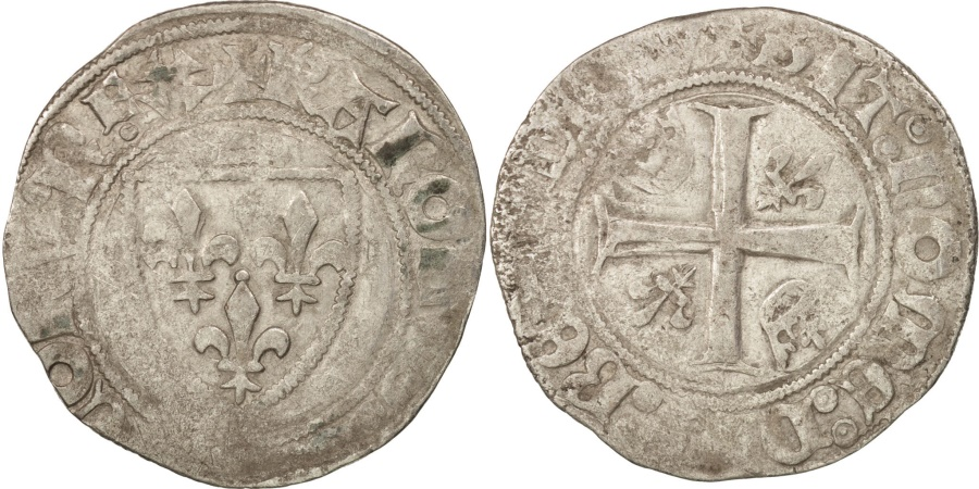 World Coins - France, Charles VI, Blanc Guénar, Saint-Quentin, , Duplessy:377A