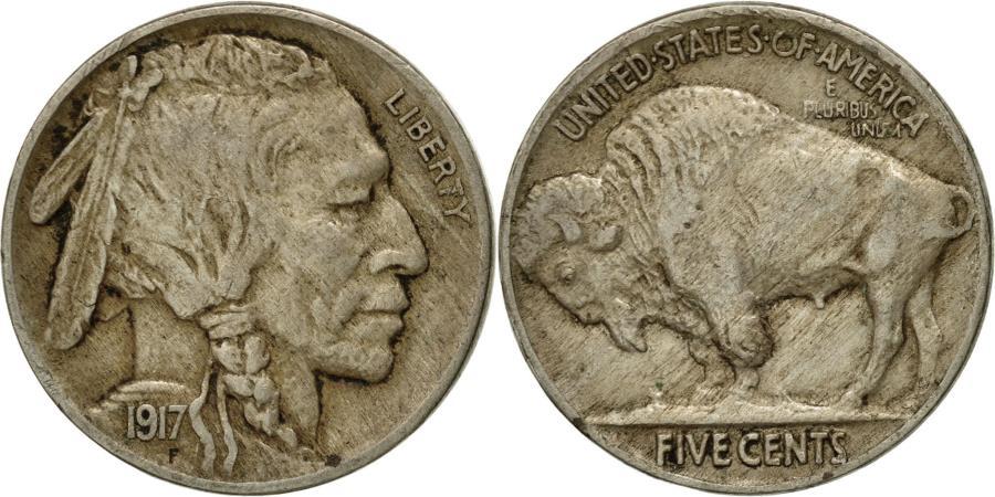 US Coins - Coin, United States, Buffalo Nickel, 5 Cents, 1917, U.S. Mint, Philadelphia
