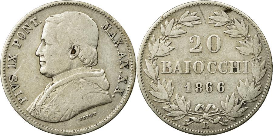 World Coins - Coin, ITALIAN STATES, PAPAL STATES, Pius IX, 20 Baiocchi, 1866, Roma, VF(20-25)