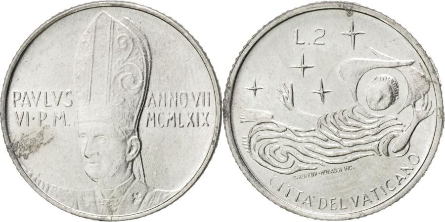 World Coins - VATICAN CITY, 2 Lire, 1969, KM #109, , Aluminum, 18, 0.79