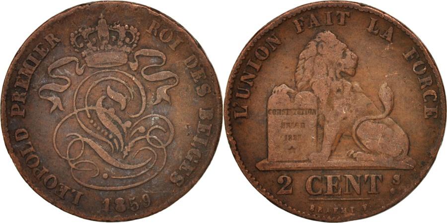World Coins - Belgium, Leopold I, 2 Centimes, 1859, , Copper, KM:4.2