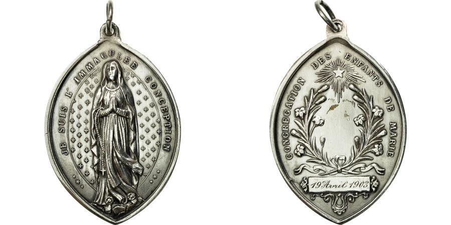 World Coins - France, Medal, Religion, Congrégation des Enfants de Marie, 1903,