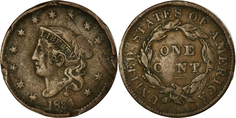 US Coins - Coin, United States, Coronet Cent, Cent, 1834, U.S. Mint, , Copper