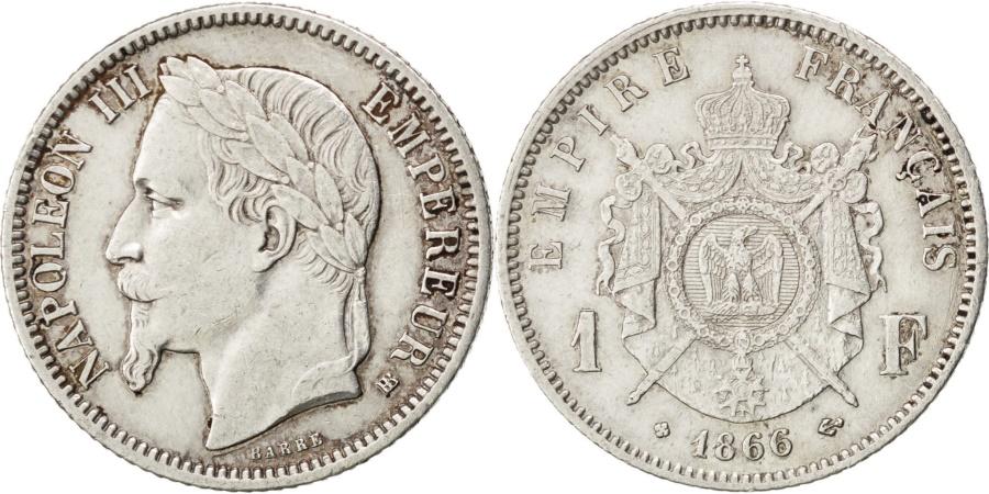 World Coins - FRANCE, Napoléon III, Franc, 1866, Paris, KM #806.1, , Silver, Gadoury