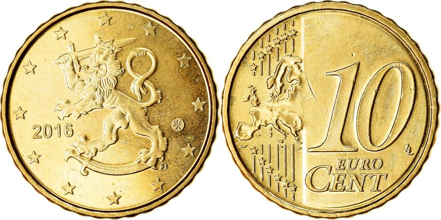 World Coins - Finland, 10 Euro Cent, 2016, , Brass