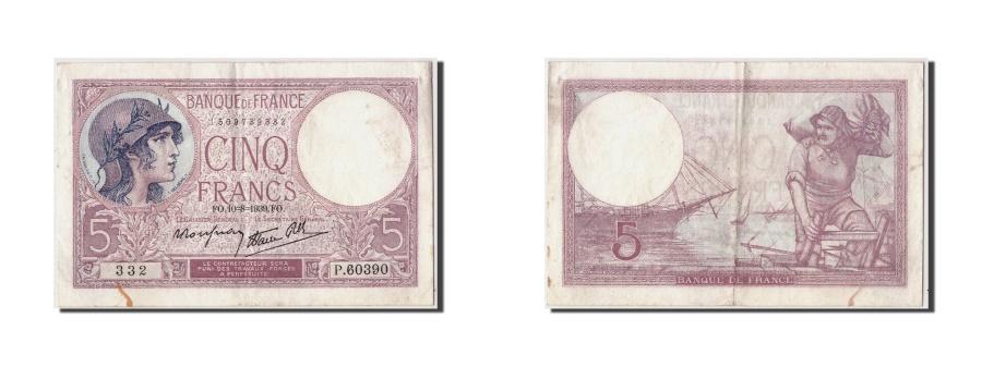 World Coins - France, 5 Francs 1917-1940 ''Violet'', 1939, KM:83, 1939-08-10, AU(50-53)