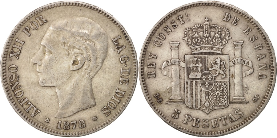 World Coins - Spain, Alfonso XII, 5 Pesetas, 1878, Madrid, , Silver, KM:676