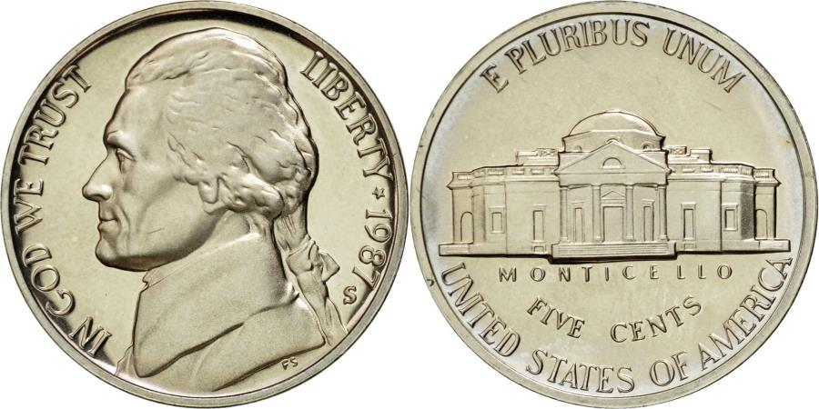 US Coins - Coin, United States, Jefferson Nickel, 5 Cents, 1987, U.S. Mint, San Francisco
