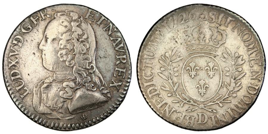 World Coins - FRANCE, 1/5 Écu aux branches d'olivier, 24 Sols, 1/5 ECU, 1726, Lyon, KM #482.5,