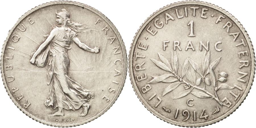 World Coins - France, Semeuse, Franc, 1914, Castelsarrasin, , Silver, KM:844.2