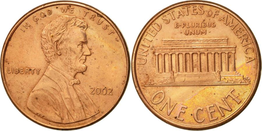 US Coins - United States, Lincoln Cent, Cent, 2002, U.S. Mint, Philadelphia,