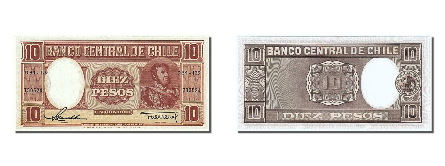World Coins - Chile, 10 Pesos = 1 Condor, 1947, KM #111, UNC(65-70), 730524