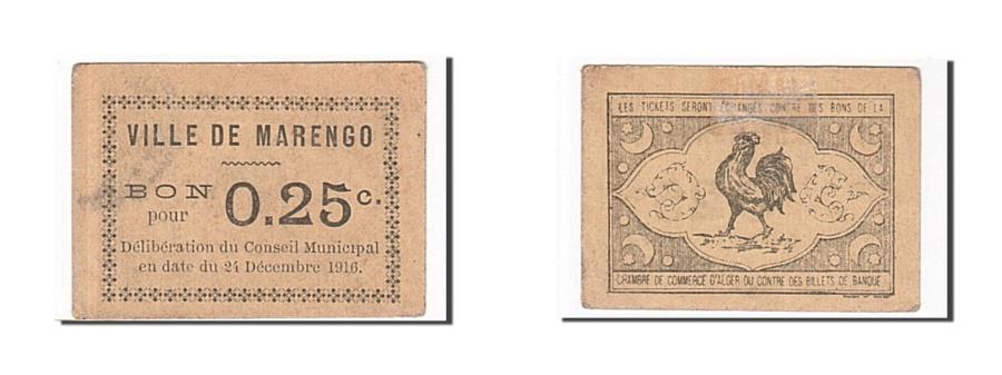 World Coins - Algeria, Marengo, 25 Centimes, 1916, AU(50-53), Pirot 6