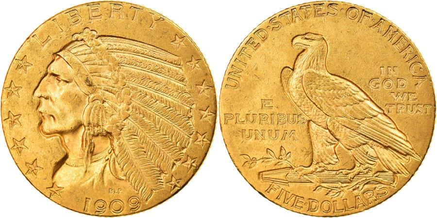 US Coins - Coin, United States, Indian Head, $5, Half Eagle, 1909, Philadelphia,