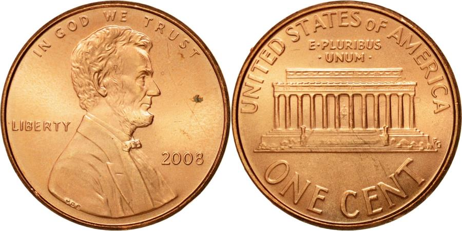 US Coins - Coin, United States, Lincoln Cent, Cent, 2008, U.S. Mint, , Copper