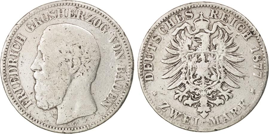 World Coins - German States, BADEN, Friedrich I, 2 Mark, 1877, Stuttgart, , KM:265