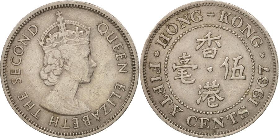 World Coins - Hong Kong, Elizabeth II, 50 Cents, 1967, , Copper-nickel, KM:30.1