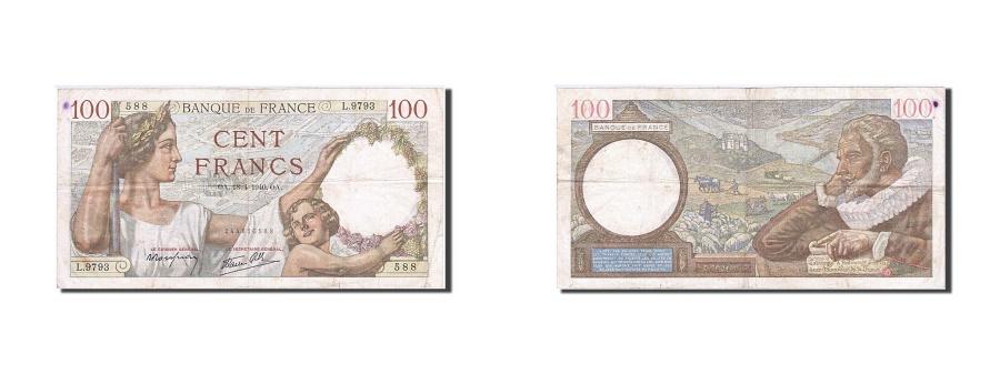 World Coins - France, 100 Francs, 1939, KM:94, 1940-04-18, EF(40-45), Fayette:26.27