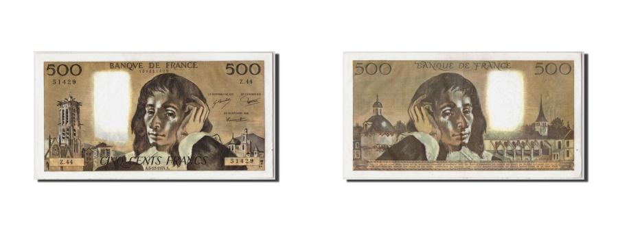 World Coins - France, 500 Francs Pascal, KM:156c, Fayette:71.12, 1974-12-05, AU(50-53)