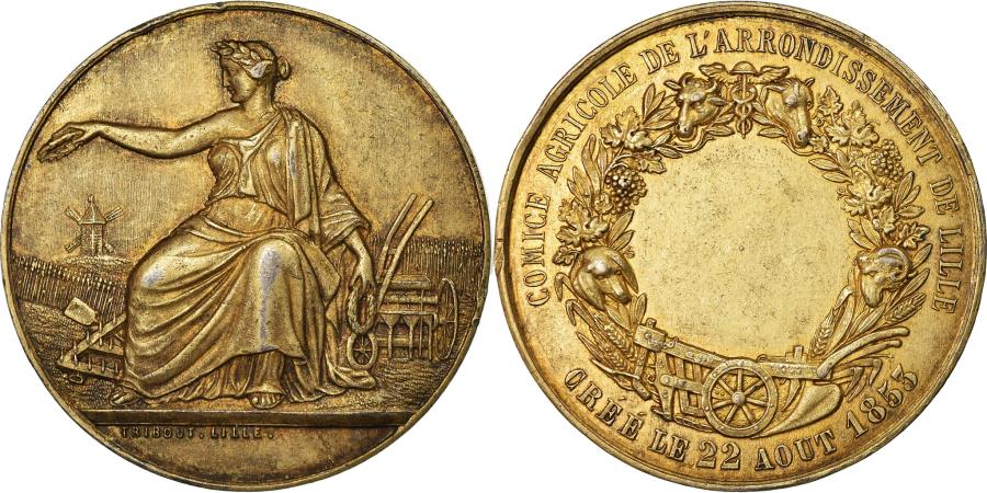 World Coins - France, Medal, Second French Empire, Business & industry, 1853, AU(50-53)