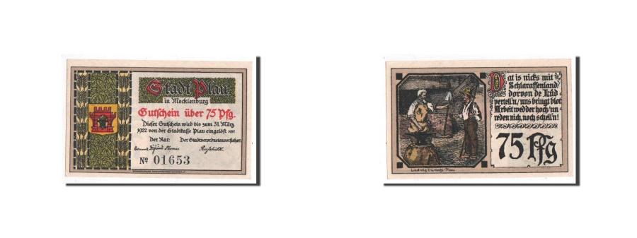 World Coins - Germany, Plau, 75 Pfennig, personnage, Undated, UNC(65-70), Mehl:1061.1