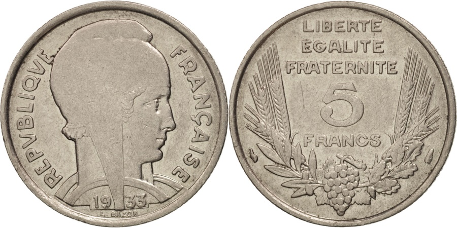 World Coins - France, Bazor, 5 Francs, 1933, Paris, , Nickel, KM:887