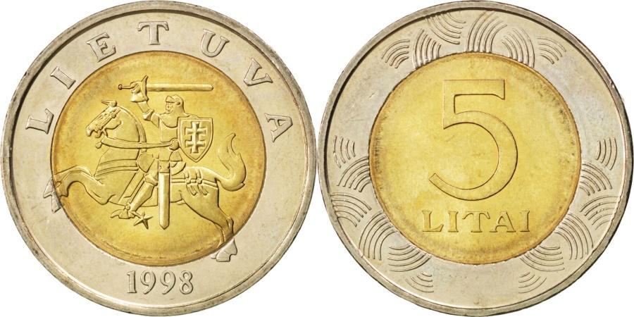 World Coins - LITHUANIA, 5 Litai, 1998, KM #113, , Bi-Metallic, 27.5, 10.16
