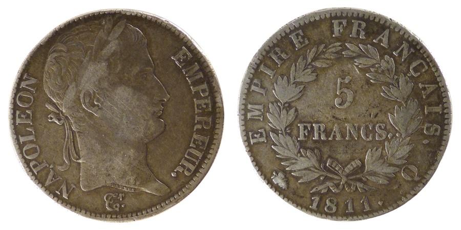 World Coins - FRANCE, Napoléon I, 5 Francs, 1811, Perpignan, KM #694.12, , Silver, G.