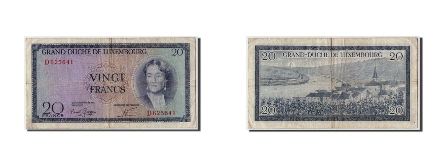 World Coins - Luxembourg, 20 Francs, Undated (1955), KM:49a, VF(20-25)