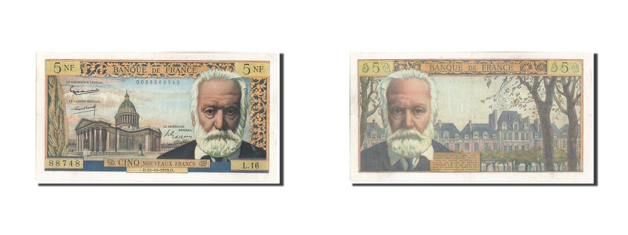 World Coins - France, 5 Nouveaux Francs, 5 NF 1959-1965 ''Victor Hugo'', 1959, KM #141a,...