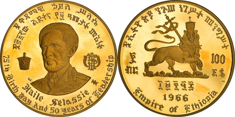 World Coins - Coin, Ethiopia, Haile Selassie, 100 Dollars, 1966, Proof, , Gold, KM:41