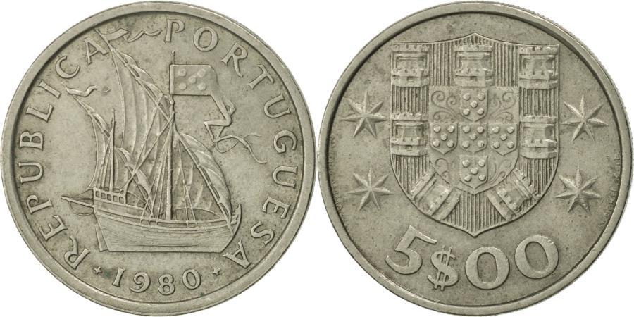 World Coins - Portugal, 5 Escudos, 1980, , Copper-nickel, KM:591