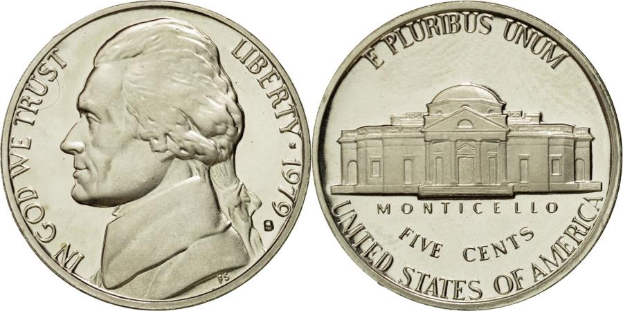 US Coins - Coin, United States, Jefferson Nickel, 5 Cents, 1979, U.S. Mint, San Francisco