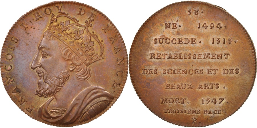 World Coins - France, Medal, Francis I, History, XIXth Century, , Copper, 32