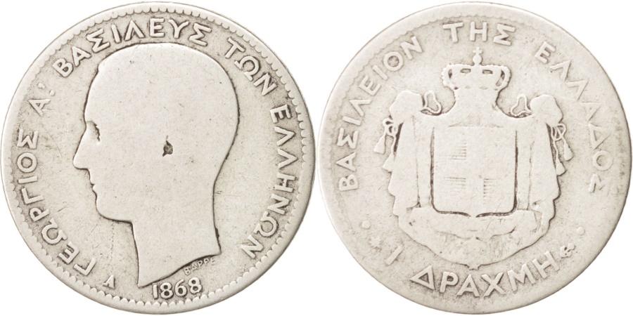 World Coins - Greece, George I, Drachma, 1868, Paris, Silver, KM:38