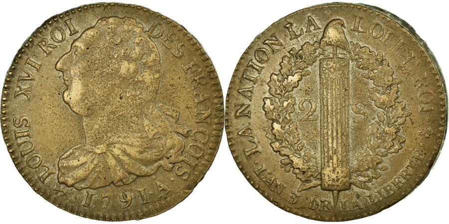World Coins - Coin, France, 2 sols françois, 2 Sols, 1791, Paris, EF(40-45), Bronze