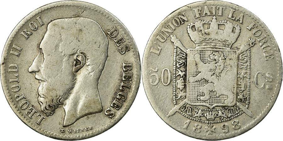 World Coins - Coin, Belgium, Leopold II, 50 Centimes, 1898, , Silver, KM:26
