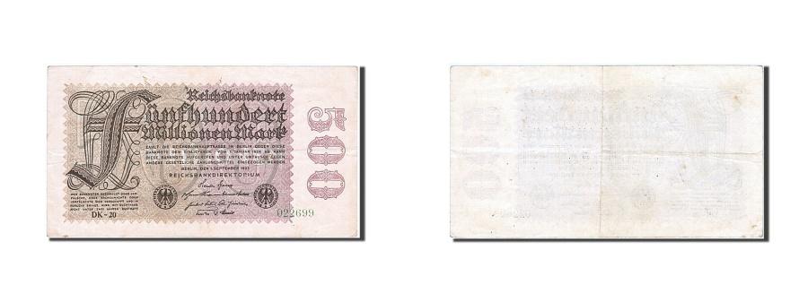World Coins - Germany, 500 Millionen Mark, 1923, KM #110a, 1923-09-01, AU(50-53), 022699