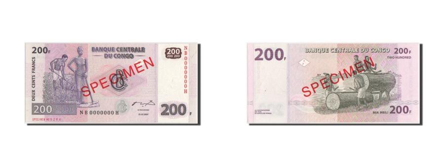 World Coins - Congo, 200 Francs, 31.07.2007, SPECIMEN, KM:99s, UNC