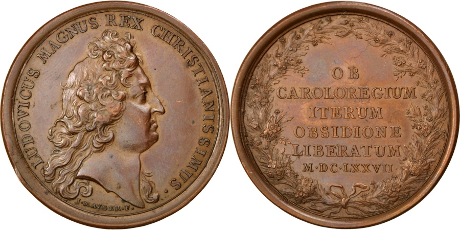 World Coins - FRANCE, History, Louis XIV, Medal, , Mauger, Bronze, 41, Divo #165,...