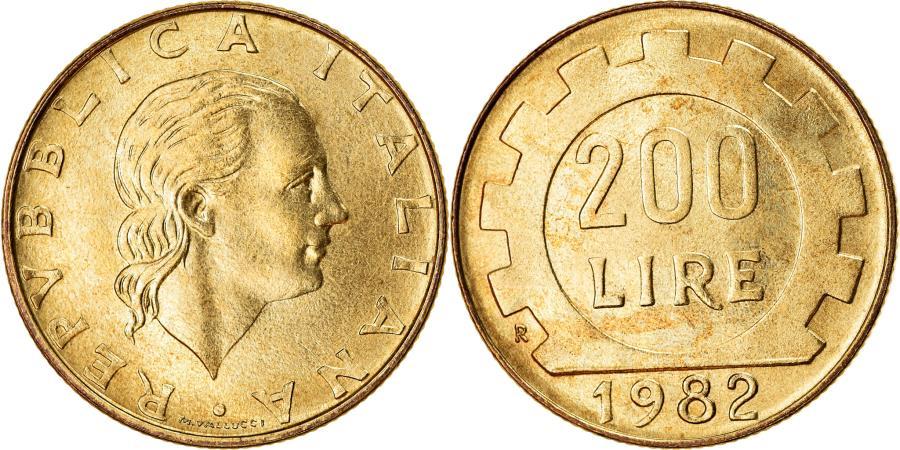 World Coins - Coin, Italy, 200 Lire, 1982, Rome, , Aluminum-Bronze, KM:105