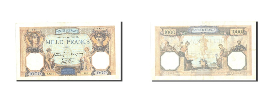 World Coins - France, 1000 Francs, 1 000 F 1927-1940 ''Cérès et Mercure'', 1940, KM:90c