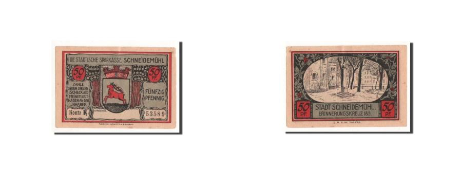 World Coins - Germany, Schneidemuhl, 50 Pfennig, Monument, UNC(65-70), Mehl:1191.2b