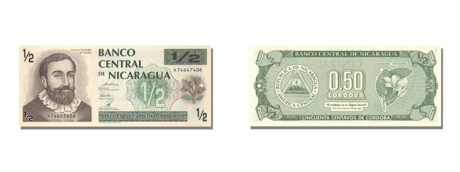World Coins - Nicaragua, 1/2 Córdoba, KM #172, UNC(65-70), A
